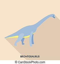 Brontosaurus icon, flat style - Brontosaurus icon. Flat...