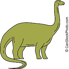 Brontosaurus Mono Line - Mono line style illustration of a...