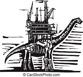 Brontosaurus Oil Rig - Woodcut style image of a fossil of a ...