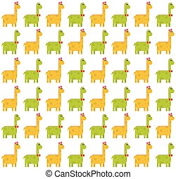 Brontosaurus seamless pattern on white background - Seamless...