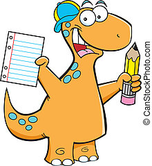 Brontosaurus with a pencil