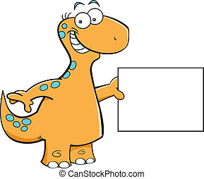 Brontosaurus with a sign - Cartoon illustration of a...