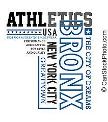Bronx Athletics sport, typography design for t-shirt print,...