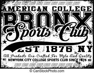 Bronx New York sport typography; t-shirt graphics; vectors