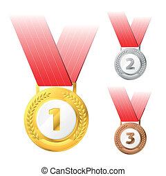 bronz, ezüst, medals, arany