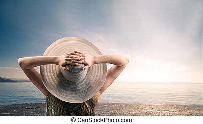 bronzage, femme, plage