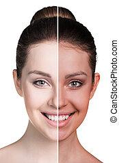 bronzage, moitié femme, figure