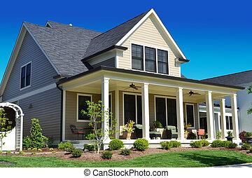 bronzage, suburbain, maison