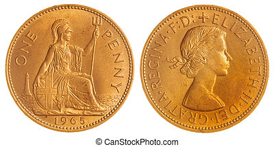 1 penny 1965 coin isolated on white background, Great...