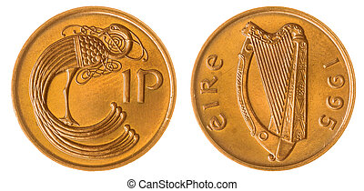 1 penny 1995 coin isolated on white background, Ireland -...