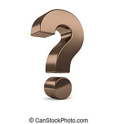 bronze 3d question mark - Bronze 3d question mark, isolated ...