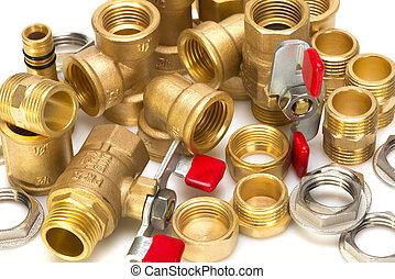 bronze, ajustamentos, para, encanamento, canos