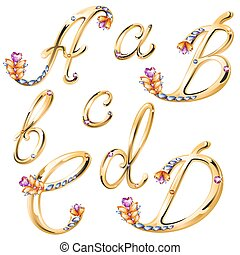Vector volume shiny bronze alphabet with floral details from diamonds and gems, letters A,B,C,D