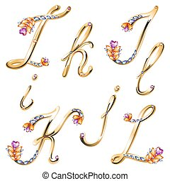 Bronze alphabet with colored gems letters I,J,K,L - Vector...