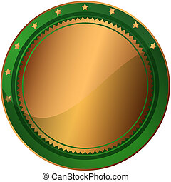 Bronze and green award  with stars (vector EPS 10)