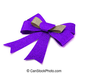 Bronze and purple ribbon isolated on white, clipping path.