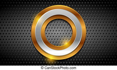 Bronze and silver moving rings on metallic perforated background