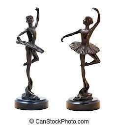 Bronze antique figurine of the dancing ballerina. Isolated image.