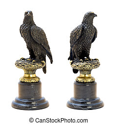 Bronze antique figurine of the eagle.