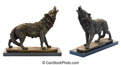 Bronze antique figurine of the howling wolf.