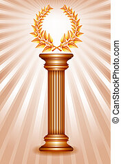 Bronze award column with laurel wreath