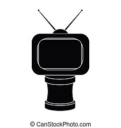 Bronze award in Famer of the TV with aerial.Trophy for best film.Movie awards single icon in black style vector symbol stock illustration.