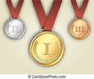 bronze, bänder, medaillen, gold, silber