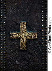 Bronze background with cross