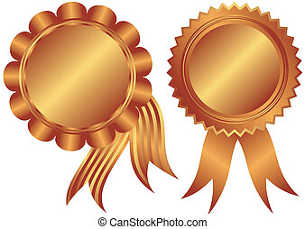 Bronze banners with ribbons on a white background (vector)