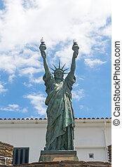 bronze., bartholdi, dalinian, 芸術家, 1994., 促される, cadaqués, 像...