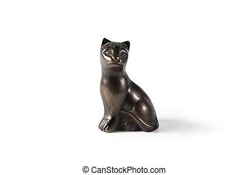 Bronze black cat statuette