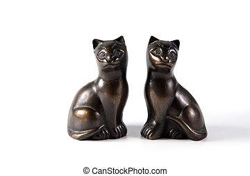 Bronze black cat statuettes