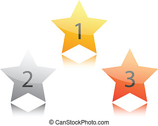 bronze, branca, estrela, prata, ouro