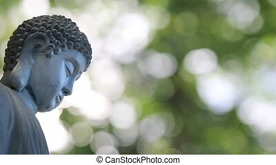 Bronze Buddha Sculpted Statue in Traditional Sitting Meditation Pose against Shimmering Green Out of Focus Bokeh Blurred Background 1080p