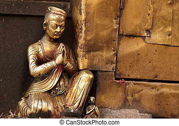 buddhism statue - bronze buddhism statue at Swayambhunath...