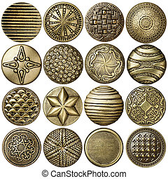 Bronze buttons - Bronze sewing buttons collection, isolated