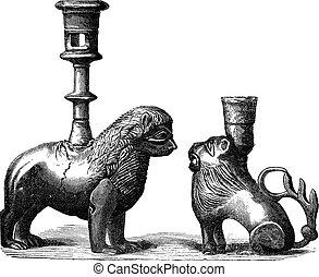 Bronze Candleholders, vintage engraving - Bronze...