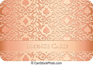 Bronze card with card symbols ornament