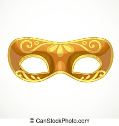 Bronze carnival mask with golden ornament object isolated on white background