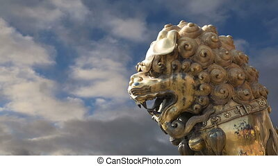 bronze, chinois, statue, dragon