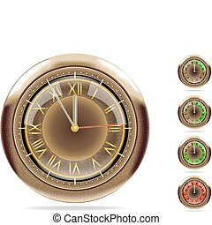 Bronze clocks set #2 |Vector.eps 10 - Detailed vector image...