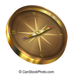 Bronze compass isolated on white background