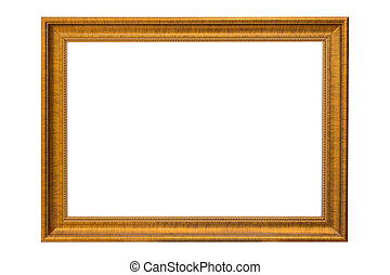 Bronze copper and Gold Frame vintage isolated on white background.