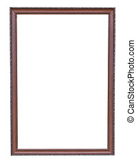 Bronze copper and Old Frame vintage isolated on white background.