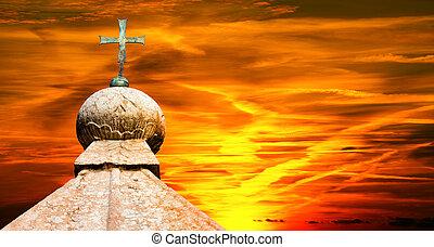 Bronze Cross at Sunset