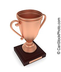Bronze cup on white. 3D rendering.