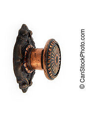 bronze door knob on a white background - retro bronze door...