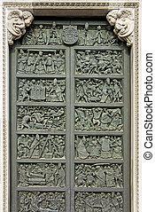 Bronze doors of Milan's cathedral Duomo di Milano