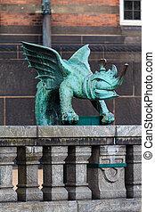 Bronze Dragon - A bronze dragon in the center of Copenhagen