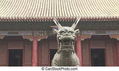 Bronze Dragon Statue - Qilin, bronze sculpture of a mythical...